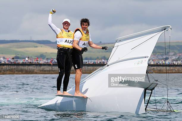 Nathan Outteridge and Iain Jensen of Australia celebrate winning gold in the Men's 49er Sailing on Day 12 of the London 2012 Olympic Games at the...