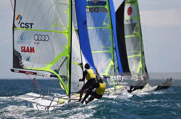 Nathan Outteridge and Iain Jensen of Australia in action during a 49er Class race during day seven of the Weymouth and Portland International Regatta...