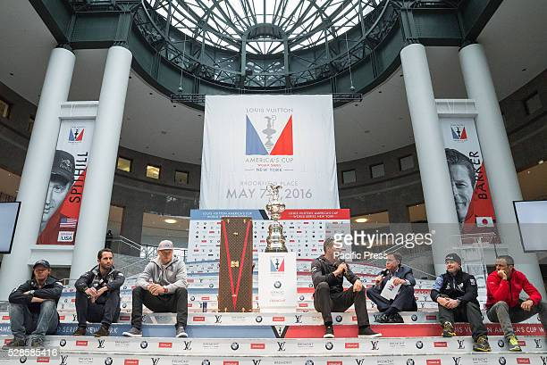 Nathan Outteridge Ben Ainsle Jimmy Spithill Dean Barker Bob Costas Glenn Ashby and Frank Cammas participate in the press conference at Brookfield...