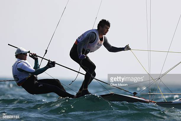 Nathan Outteridge of Australia and Iain Jensen of Australia compete in the Men's 49er class on Day 10 of the Rio 2016 Olympic Games at the Marina da...