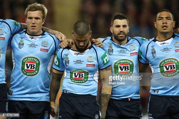 Nathan Peats of the Blues sings the National Anthem before game three of the State Of Origin series between the Queensland Maroons and the New South...