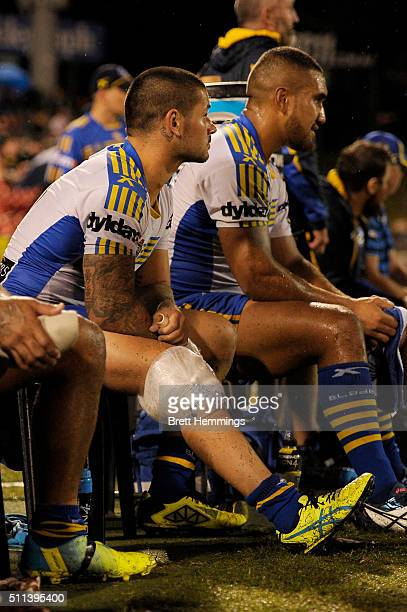 Nathan Peats of the Eels ices his knee during the NRL Trial match between the Penrith Panthers and the Parramatta Eels at Pepper Stadium on February...