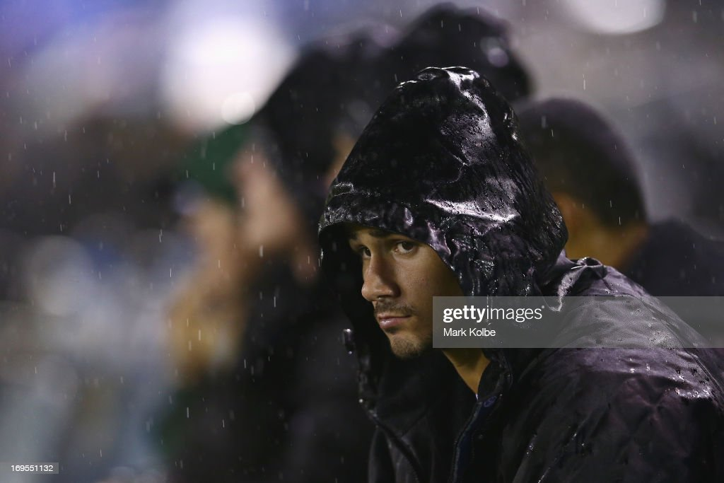 Nathan Peats of the Rabbitohs watches on from the bench during the round 11 NRL match between the Cronulla Sharks and the South Sydney Rabbitohs at Sharks Stadium on May 27, 2013 in Sydney, Australia.