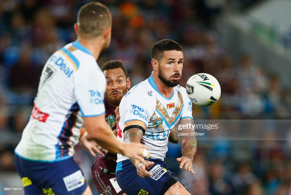 Nathan Peats of the Titans in action during the round 11 NRL match between the Gold Coast Titans and the Manly Sea Eagles at Cbus Super Stadium on May 20, 2017 in Gold Coast, Australia.