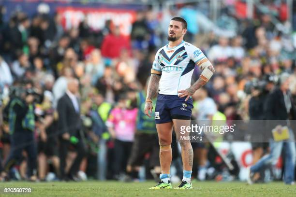 Nathan Peats of the Titans looks dejected at fulltime during the round 20 NRL match between the Penrith Panthers and the Gold Coast Titans at Pepper...