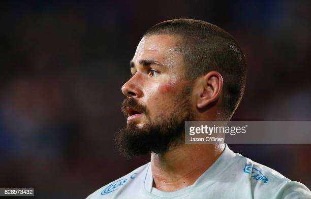 Nathan Peats of the titans looks on during the round 22 NRL match between the Gold Coast Titans and the Brisbane Broncos at Cbus Super Stadium on...