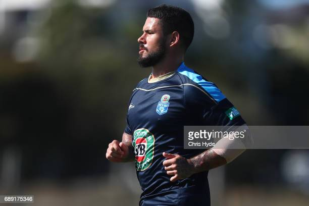 Nathan Peats runs during a New South Wales Blues Origin training session at Cudgen Leagues Club on May 28 2017 in Kingscliff Australia
