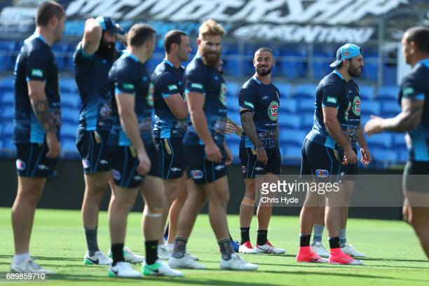 Nathan Peats smiles during the New South Wales Blues State of Origin captain's run at Cbus Super Stadium on May 30 2017 in Gold Coast Australia