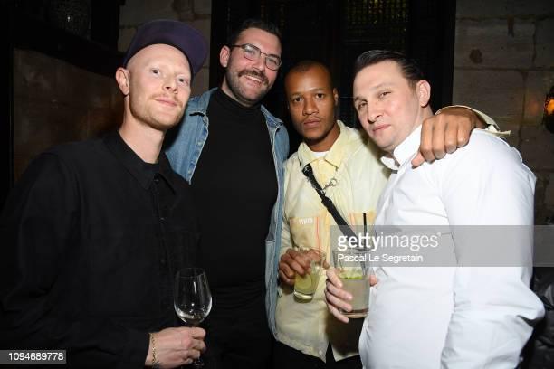 Nathan Perkel, Josh Sacks, Heron Preston and Nikle Guzijan attend Heron Preston + UGG Paris Fashion Week Dinner At Le 404 Restaurant as part of Paris...