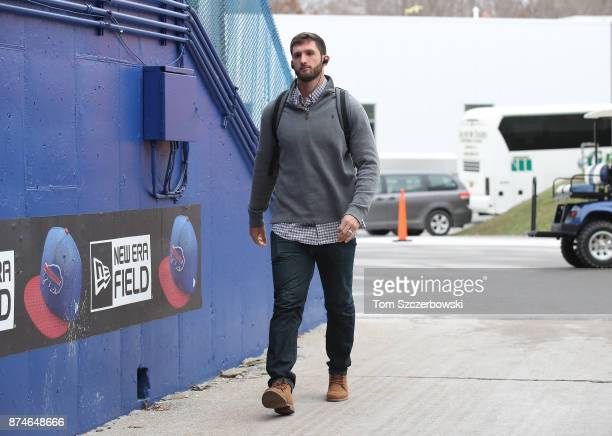 Nathan Peterman of the Buffalo Bills arrives at the stadium before the start of NFL game action against the New Orleans Saints at New Era Field on...