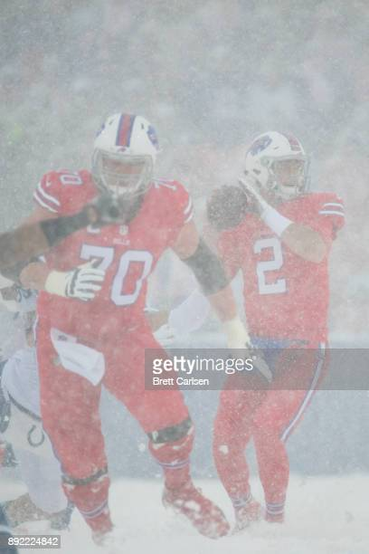 Nathan Peterman of the Buffalo Bills drops back to pass during the first half against the Indianapolis Colts at New Era Field on December 10 2017 in...