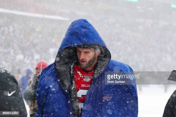 Nathan Peterman of the Buffalo Bills leave the game after getting injured during the third quarter agains the Indianapolis Colts on December 10 2017...