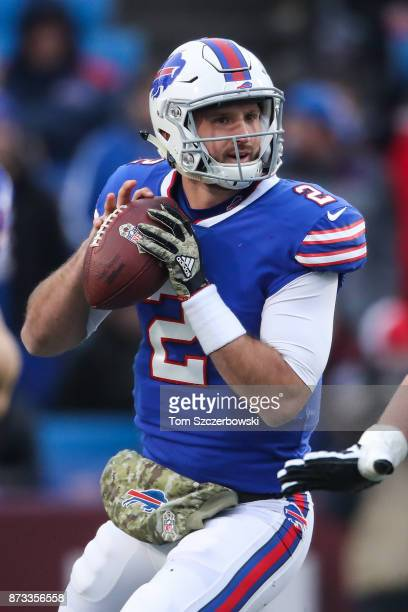 Nathan Peterman of the Buffalo Bills looks to pass the ball against the New Orleans Saints during the fourth quarter on November 12 2017 at New Era...