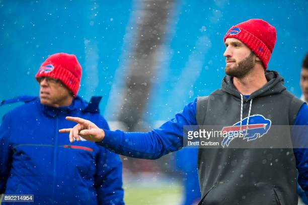 Nathan Peterman of the Buffalo Bills participates in warm ups before the game against the Indianapolis Colts at New Era Field on December 10 2017 in...