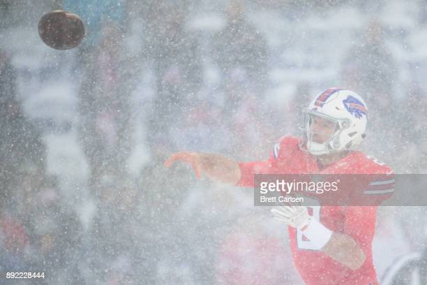 Nathan Peterman of the Buffalo Bills passes the ball during the third quarter against the Indianapolis Colts at New Era Field on December 10 2017 in...