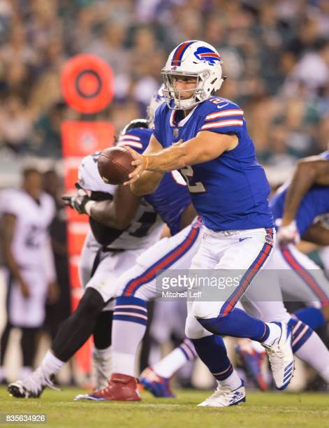 Nathan Peterman of the Buffalo Bills plays against the Philadelphia Eagles in the preseason game at Lincoln Financial Field on August 17 2017 in...