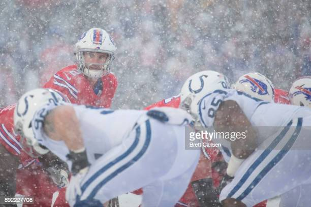 Nathan Peterman of the Buffalo Bills readies under center during the second quarter against the Indianapolis Colts at New Era Field on December 10...
