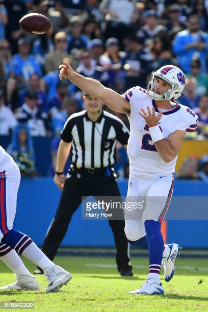 Nathan Peterman of the Buffalo Bills throws a pass during the first quarter of game against the Los Angeles Chargers at the StubHub Center on...