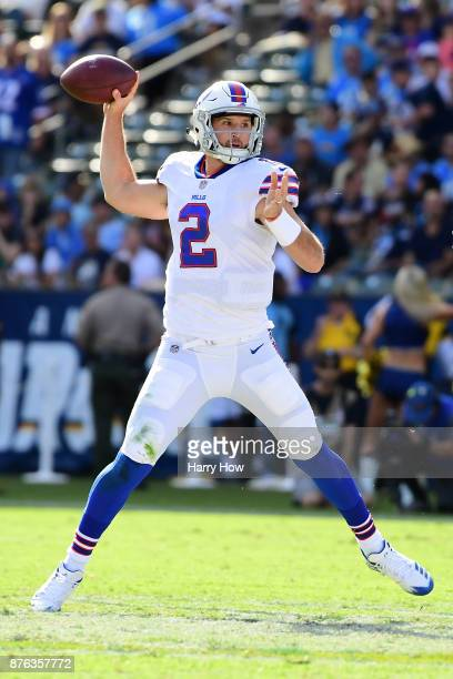 Nathan Peterman of the Buffalo Bills throws a pass during the first quarter of the game against the Los Angeles Chargers at the StubHub Center on...