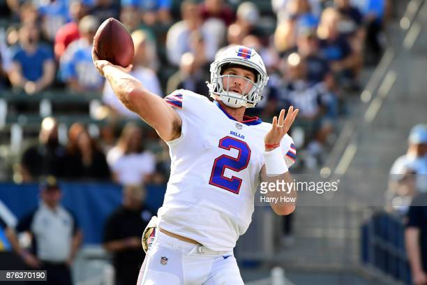 Nathan Peterman of the Buffalo Bills throws a pass during the second quarter of the game against the Los Angeles Chargers at the StubHub Center on...