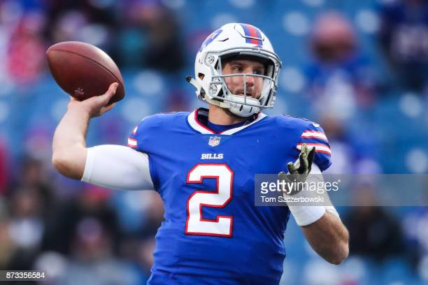 Nathan Peterman of the Buffalo Bills throws the ball against the New Orleans Saints during the fourth quarter on November 12 2017 at New Era Field in...