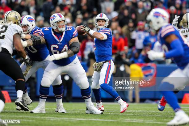 Nathan Peterman of the Buffalo Bills throws the ball during the fourth quarter against the New Orleans Saints on November 12 2017 at New Era Field in...