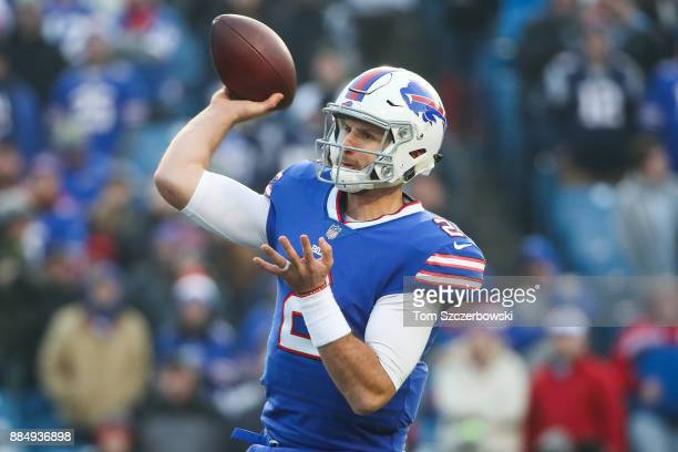 Nathan Peterman of the Buffalo Bills throws the ball during the fourth quarter against the New England Patriots on December 3 2017 at New Era Field...