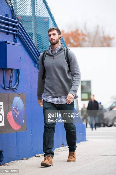 Nathan Peterman of the Buffalo Bills walks into New Era Field before the game between the Buffalo Bills and the New Orleans Saints on November 12...