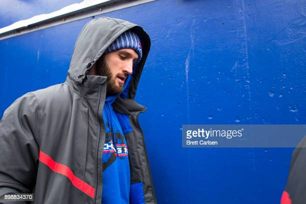 Nathan Peterman of the Buffalo Bills walks out of the tunnel out of uniform before the game against the Miami Dolphins at New Era Field on December...