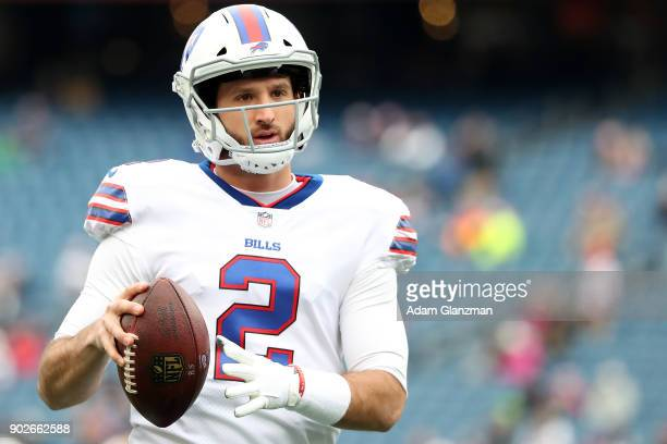 Nathan Peterman of the Buffalo Bills warms up before a game against the New England Patriots at Gillette Stadium on December 24 2017 in Foxboro...