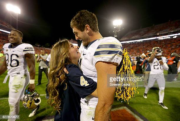 Nathan Peterman of the Pittsburgh Panthers celebrates after defeating the Clemson Tigers 4342 during their game at Memorial Stadium on November 12...