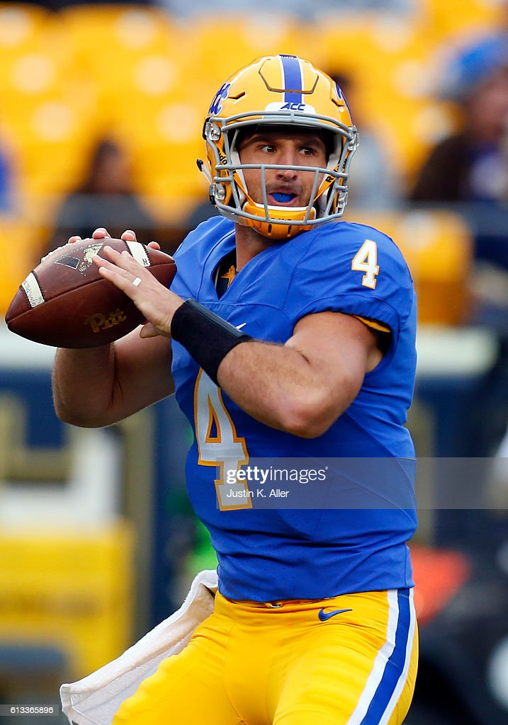 Nathan Peterman #4 of the Pittsburgh Panthers drops back to pass against the Georgia Tech Yellow Jackets during the game on October 8, 2016 at Heinz Field in Pittsburgh, Pennsylvania.