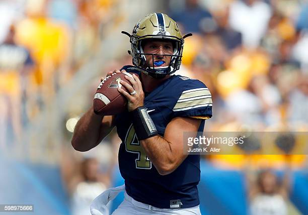 Nathan Peterman of the Pittsburgh Panthers drops back to pass during the game against the Villanova Wildcats on September 3 2016 at Heinz Field in...