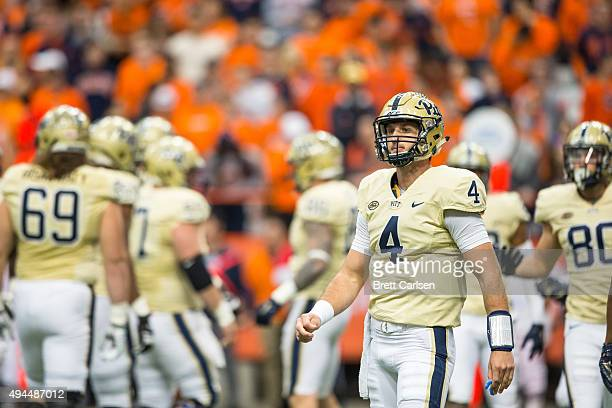 Nathan Peterman of the Pittsburgh Panthers looks to coaches during the first half against the Syracuse Orange on October 24 2015 at The Carrier Dome...