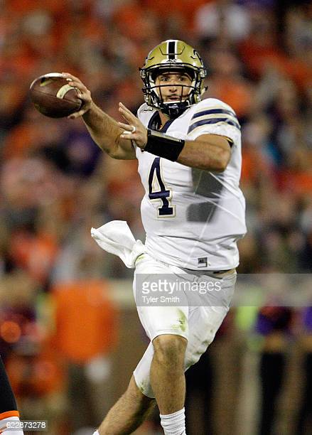 Nathan Peterman of the Pittsburgh Panthers looks to pass during the game against the Clemson Tigers at Memorial Stadium on November 12 2016 in...