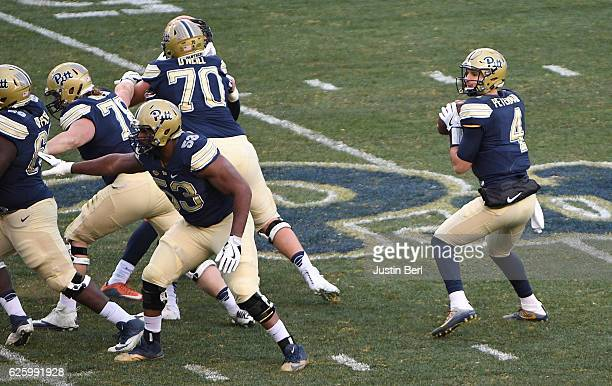 Nathan Peterman of the Pittsburgh Panthers looks to pass in the third quarter during the game against the Syracuse Orange at Heinz Field on November...