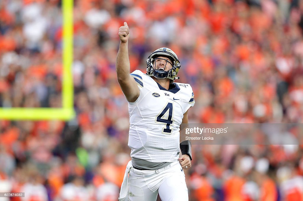 Nathan Peterman #4 of the Pittsburgh Panthers reacts after throwing a touchdown against the Clemson Tigers during their game at Memorial Stadium on November 12, 2016 in Clemson, South Carolina.
