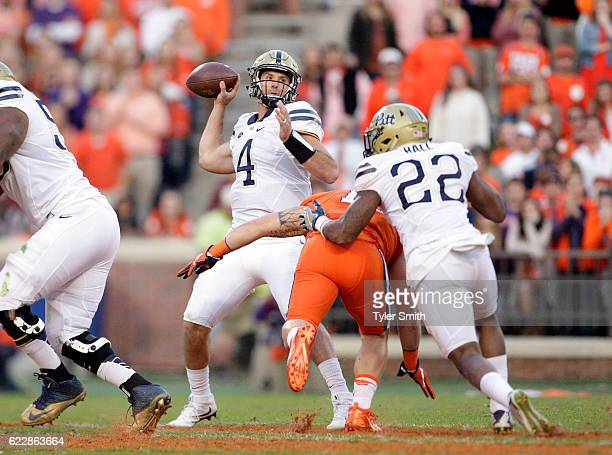 Nathan Peterman of the Pittsburgh Panthers throws a pass during the game against the Clemson Tigers at Memorial Stadium on November 12 2016 in...