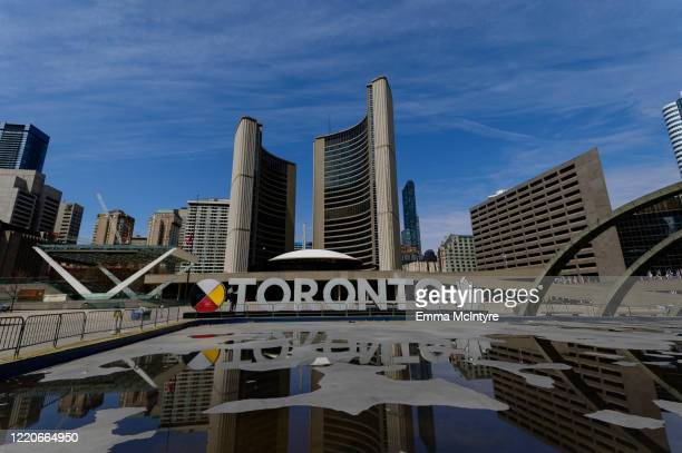 Nathan Phillips Square and Toronto City Hall is seen during the coronavirus pandemic on April 23 2020 in Toronto, Canada. Tourist attractions across...