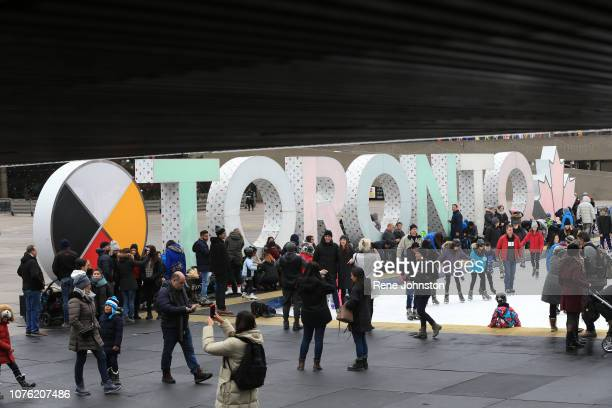 Nathan Phillips Square before the New Year Celebrations. Shape to fit design needs.