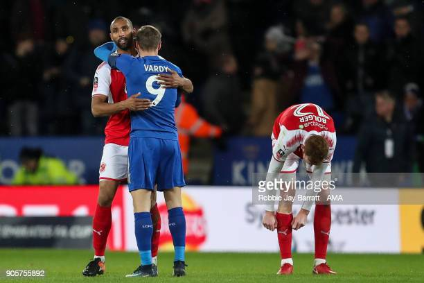 Nathan Pond of Fleetwood Town and Jamie Vardy of Leicester City share a hug at full time during The Emirates FA Cup Third Round Replay match between...