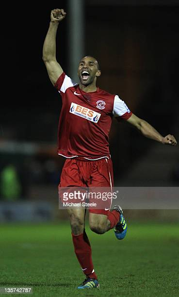 Nathan Pond of Fleetwood Town celebrates his sides 20 victory during the FA Cup Second Round Replay match between Yeovil Town and Fleetwood Town at...