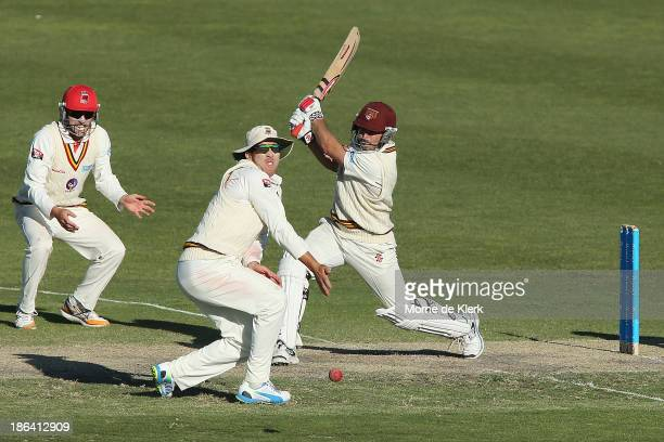 Nathan Reardon of the Bulls bats during day two of the Sheffield Shield match between the South Australia Redbacks and the Queensland Bulls at...