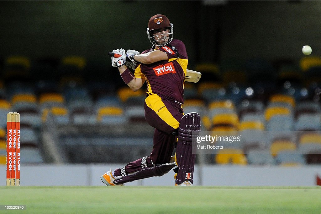 Nathan Reardon of the Bulls bats during the Ryobi One Day Cup match between the Queensland Bulls and the Western Australia Warriors at The Gabba on February 2, 2013 in Brisbane, Australia.