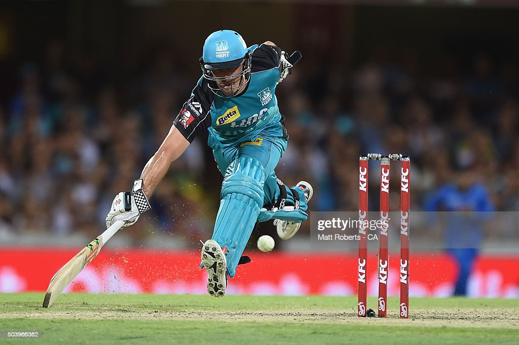 Nathan Reardon of the Heat makes his ground during the Big Bash League match between the Brisbane Heat and the Adelaide Strikers at The Gabba on January 8, 2016 in Brisbane, Australia.