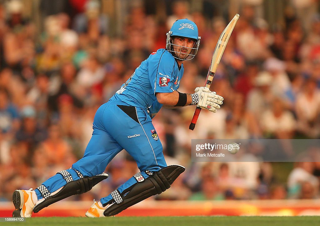 Nathan Reardon of the Strikers bats during the Big Bash League match between the Hobart Hurricanes and the Adelaide Strikers at Blundstone Arena on January 5, 2013 in Hobart, Australia.