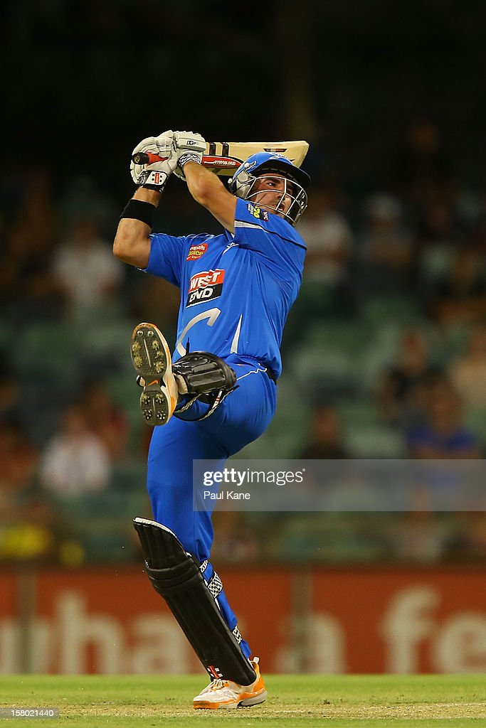 Nathan Reardon of the Strikers hits out during the Big Bash League match between the Perth Scorchers and Adelaide Strikers at WACA on December 9, 2012 in Perth, Australia.
