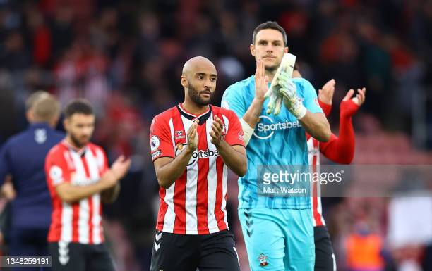 Nathan Redmond and Alex McCarthy of Southampton during the Premier League match between Southampton and Burnley at St Mary's Stadium on October 23,...