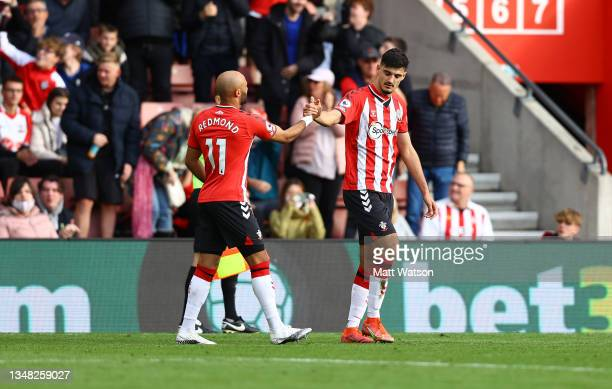 Nathan Redmond and Armando Broja of Southampton during the Premier League match between Southampton and Burnley at St Mary's Stadium on October 23,...