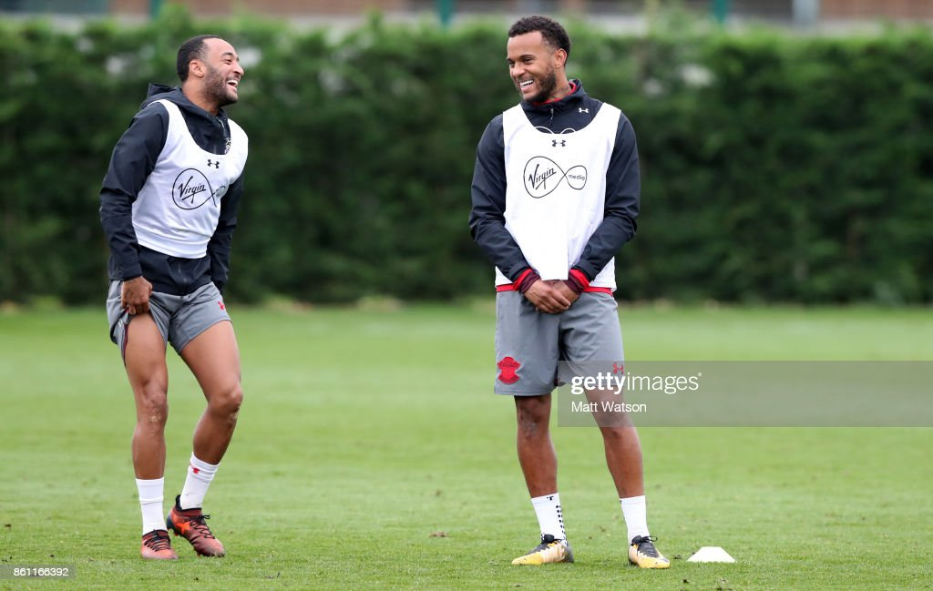 Nathan Redmond (left) and Ryan Bertrand during a Southampton FC training session at the Staplewood Campus on October 13, 2017 in Southampton, England.